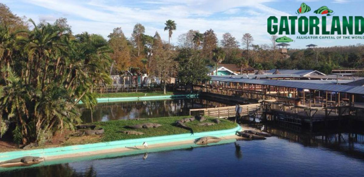 View of Gatorland in Kissimmee, Florida on a sunny day.