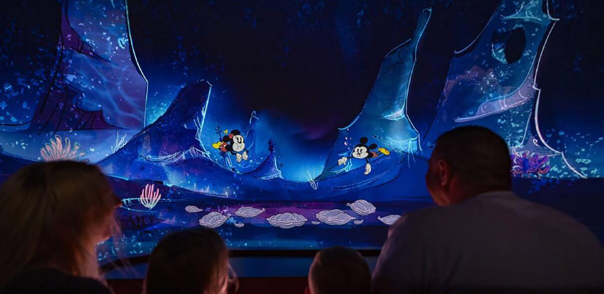 Mickey and Minnie swimming underwater