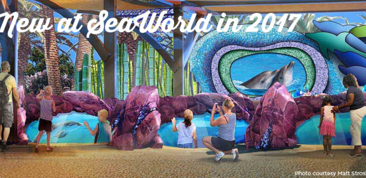 A mural of people looking at different areas of SeaWorld with