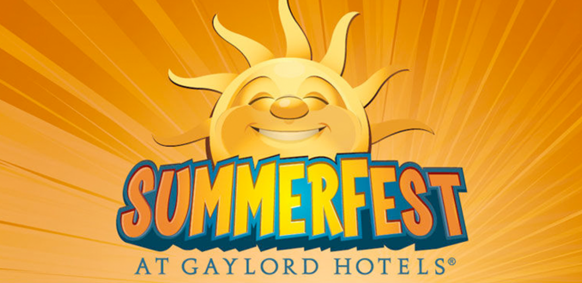 The Gaylord Hotel Summerfest logo with a yellow background and a sun smiling in the middle.